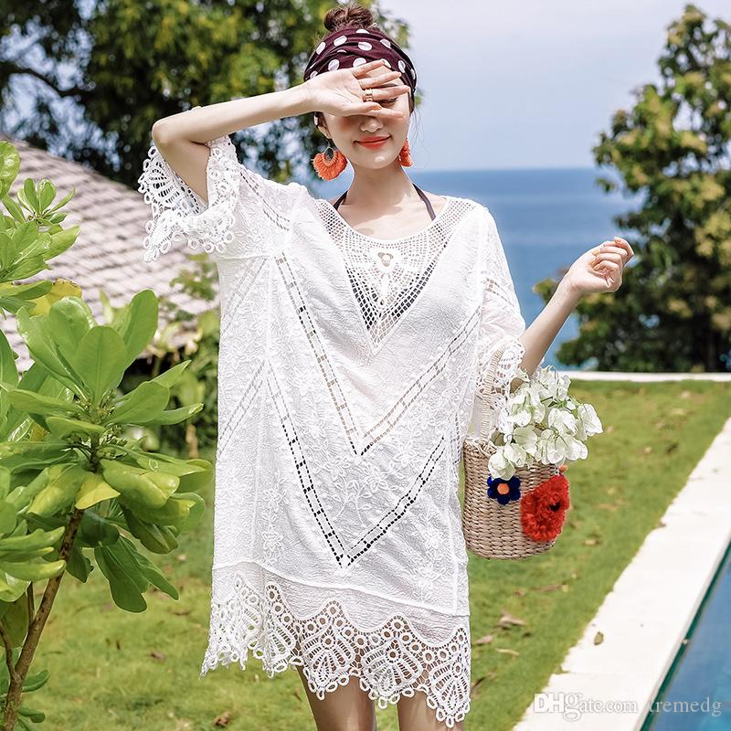 Summer Femmes creux robe dentelle femme femme à moitié manches brodées écran solaire robe blanche mori girl été housse de plage de plage
