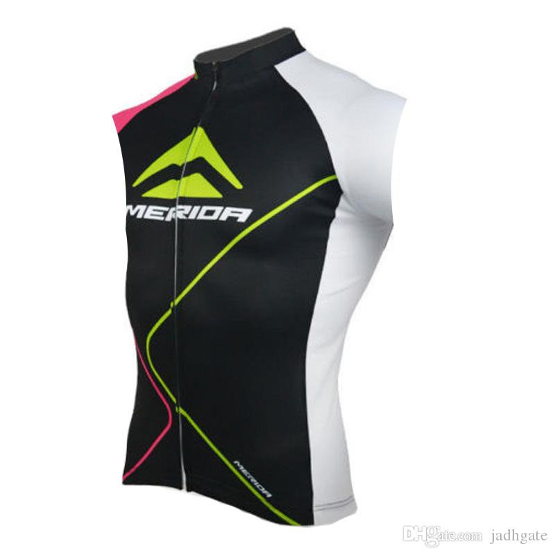 MERIDA team Cycling Sleeveless jersey Vest Breathable Quick Dry Polyester Tops outdoor sportswear Summer mens clothing U62635