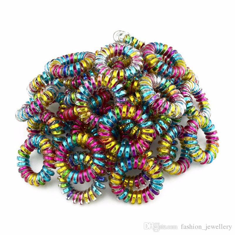 Elastische Haarbänder Mädchen Haarschmuck Gummiband Headwear Haar Seil Spirale Krawatten Gum Telefon Draht 50 stücke