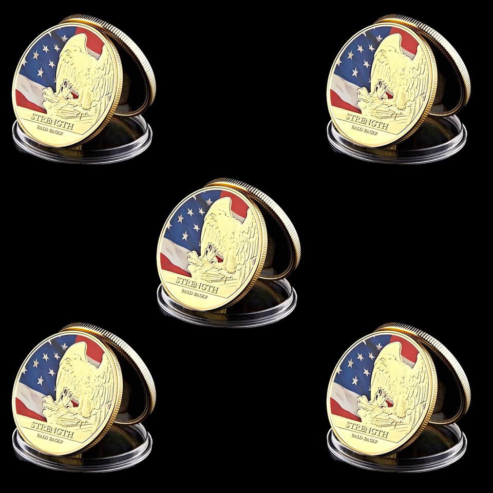 5Pcs American Civil War Vulture State Flag Freedom Set Military 1oz Gold Plated Eagle Souvenir Coin Holder
