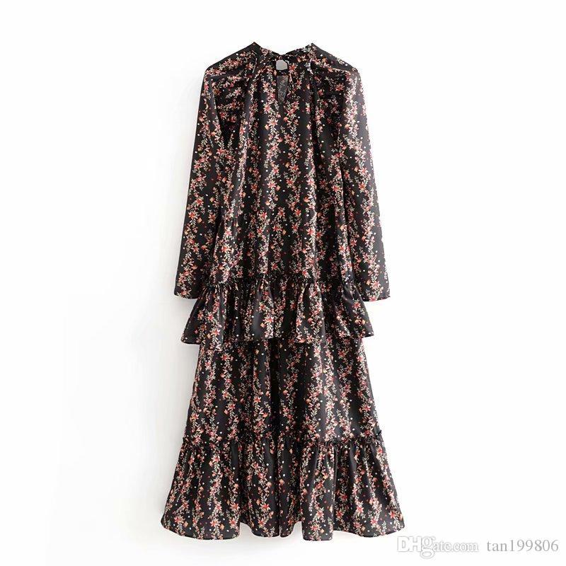 2019 المرأة أنيقة خمر الزهور طباعة مزركش ماكسي جولة اللباس الرقبة الرقبة الطاقم اللباس