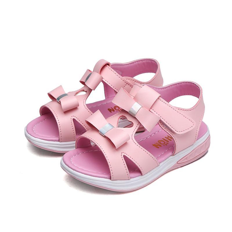 Kids Girls Princess Cute Bow Beach Sandals Non-slip Rubber Sole Summer Shoes Children New Beach Shoes Size 27-37