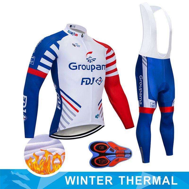 2020 새로운 GROMAMA FDJ 사이클링 팀 저지 BIBS 바지 세트 ROPA CICLISMO MENS 겨울 열 양털 프로 자전거 자켓 Maillot 착용