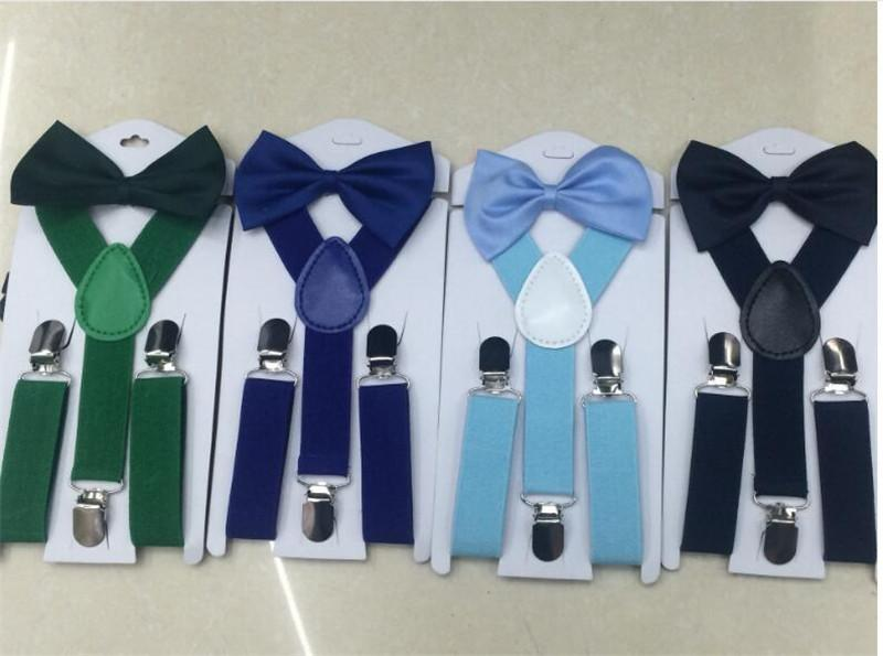 baby boy//girl Accesorries Teal colored toddler bow tie and  suspenders set