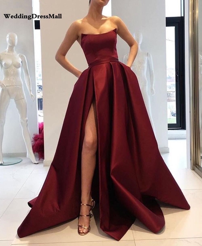großhandel burgundwein rot von der schulter satin abendkleider lange side  split prom dresses 2021 elegante damen formale kleid party kleider von