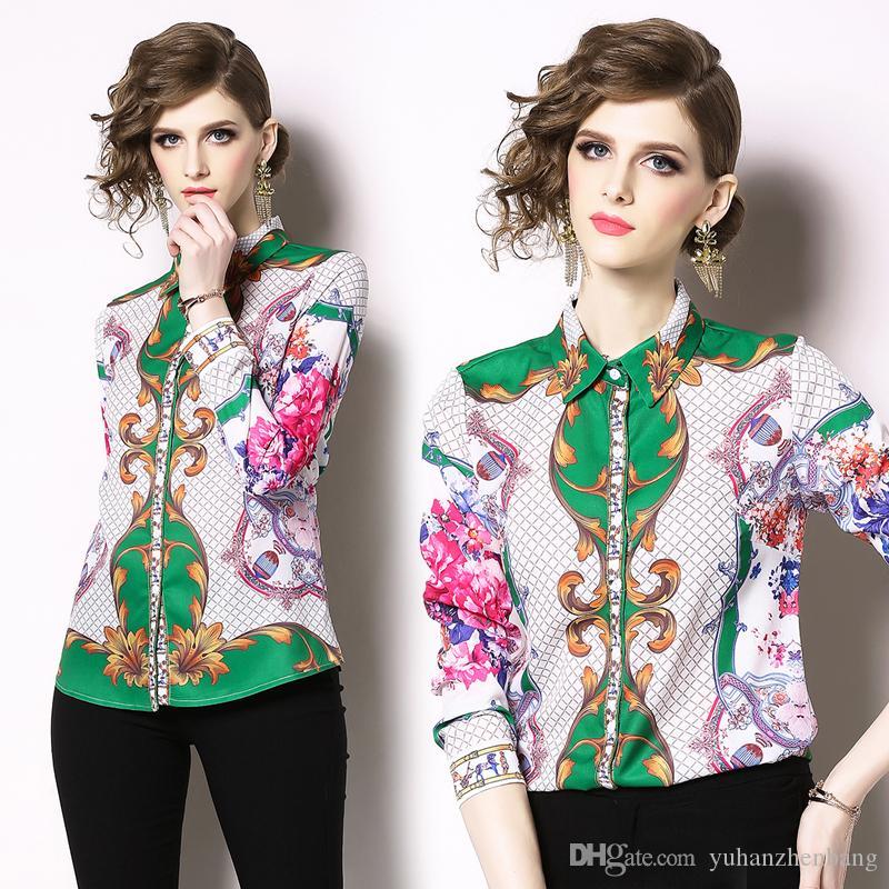 2019 floral da forma OL Imprimir Collar Runway Luxo Mulheres ocasional das senhoras Escritório botão de lapela Frente Long Neck Sleeve magros blusas Camisas Tops