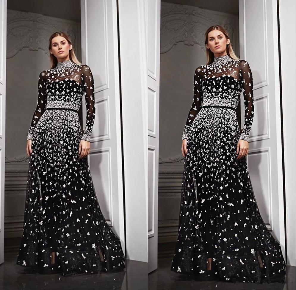 Yusuf Aljasmi Boncuklu Siyah Uzun Kollu Akşam Resmi Modelleri 2020 Orta Doğu Abiye Giyim Akşam elbise de soiree Abendkleider Wear