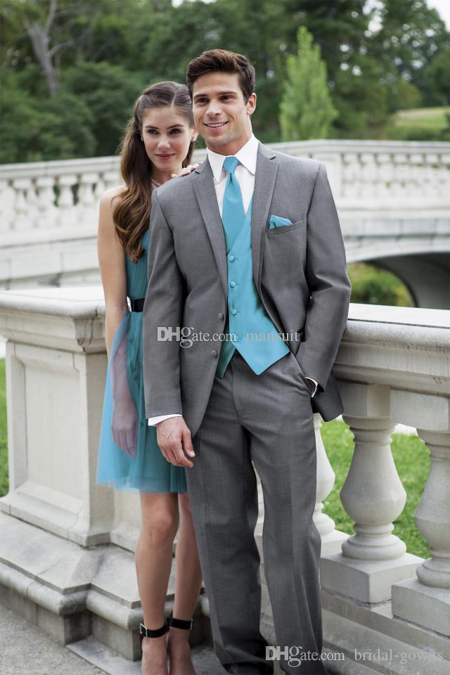 Высокое качество Groomsmen Нотч Groom Tuxedos Серый Мужские костюмы Свадебные / Prom Best Man Blazer / (куртка Жених + брюки + жилет + Tie) M590