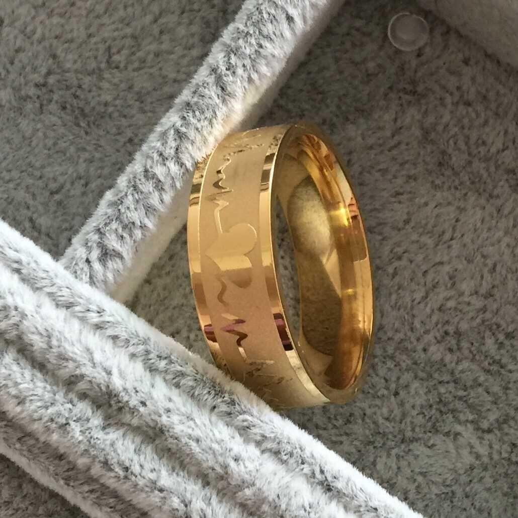Key4fashion 2019 горячая 8 мм Нержавеющая сталь 316L 18-каратного золота, обручальные кольца женские мужские титановые стали ЭКГ Сердцебиение 100 сердца любовь кольца