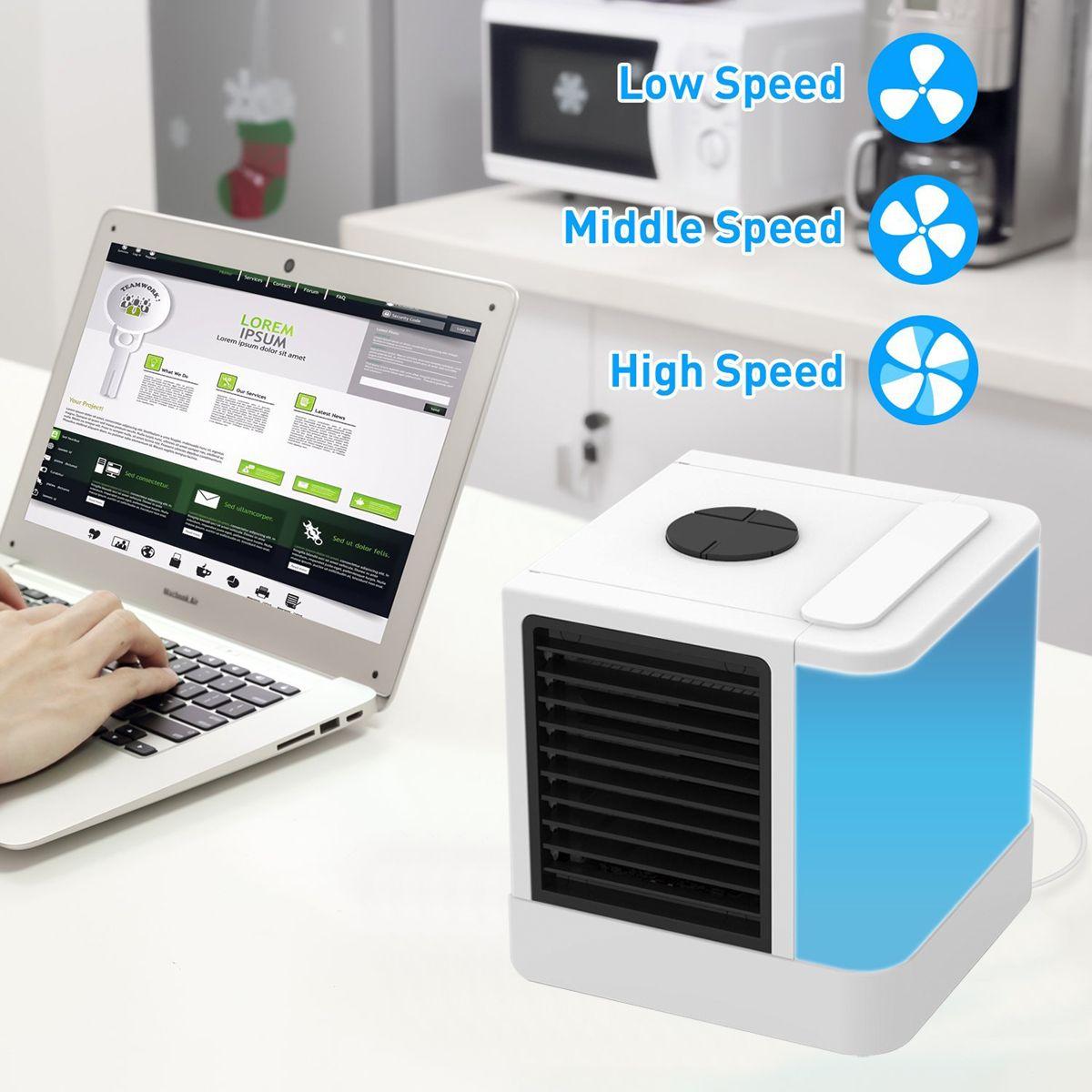 Refrigerador de aire portátil, refrigerador de aire evaporativo personal del LCD y mini ventilador de tabla del aire acondicionado del humectador para la oficina