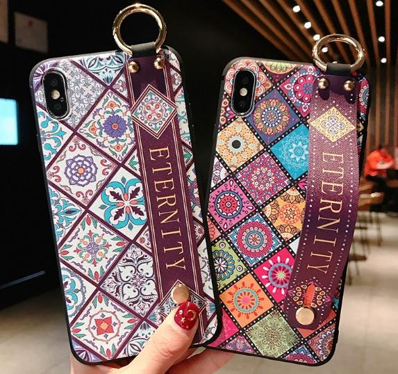 good Wrist Strap phone case Soft TPU Phone Case For iphone X Xs max XR Vintage Flower Pattern Holder Case