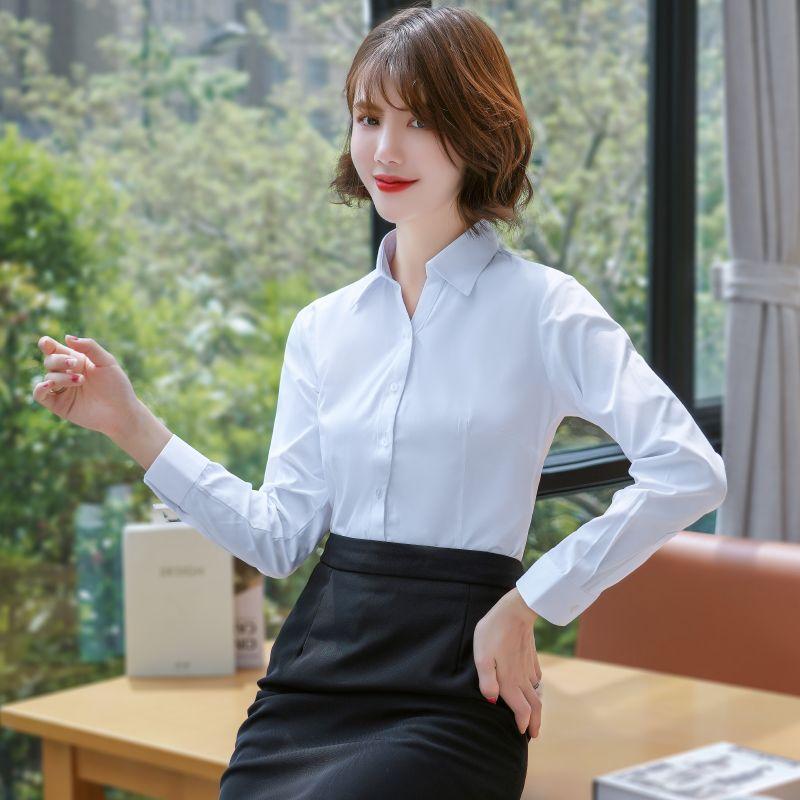 As mulheres vestem camisas de manga longa Asiático Tamanho da fêmea do negócio Casual cor pura Boutique Sólidos Shirts atacado