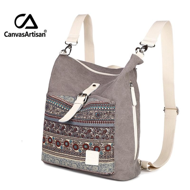 Canvasartisan top quality women canvas backpack bookbag female dual purpose shoulder bag daily travel backpacks crossbody bags T190920