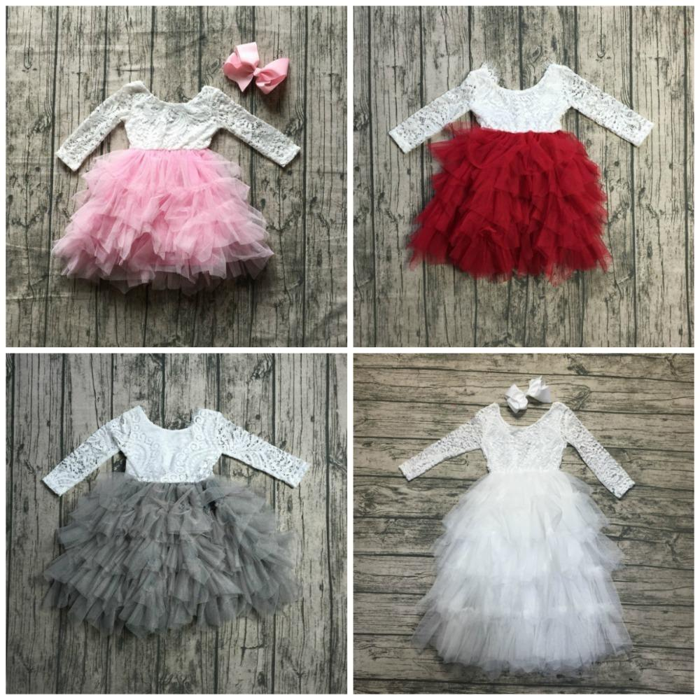 New Radiant Pink Wine White Gorgeous Gray Tulle Dress Tutu Kids Wear Baby Girls Boutique Children Clothes Long Sleeve Match Bow Y190522