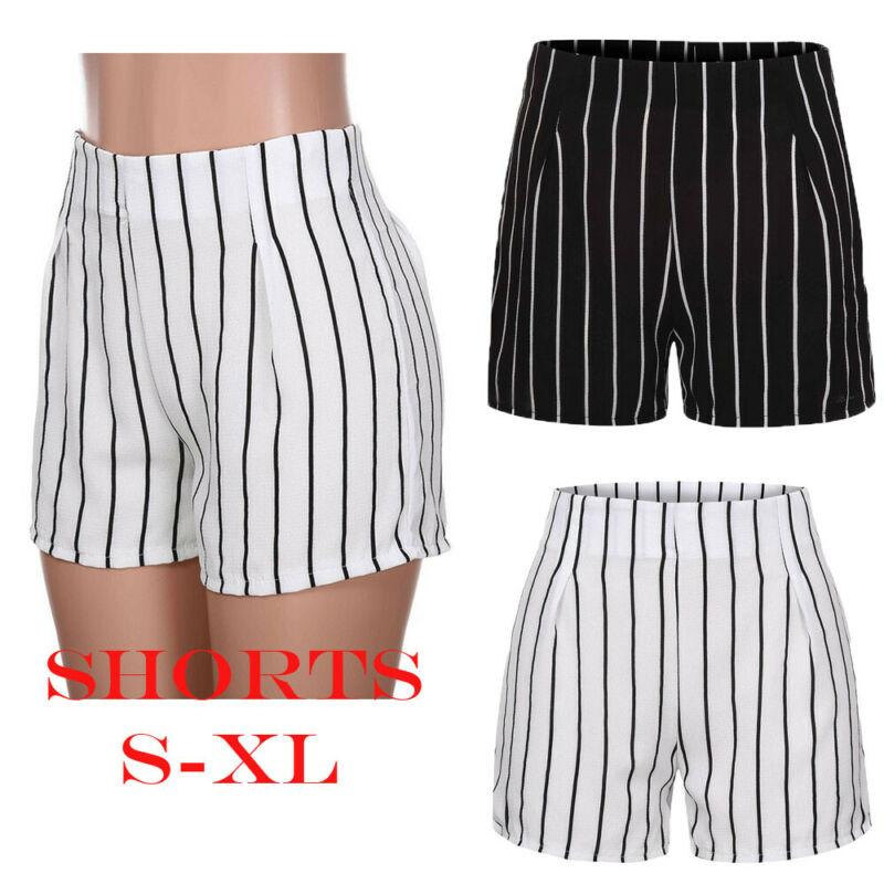 Verano de las mujeres con estilo pantalón corto flojo Negro raya blanca delgada casual muchacha de las señoras de la cremallera Beach altura de la cintura de los pantalones cortos