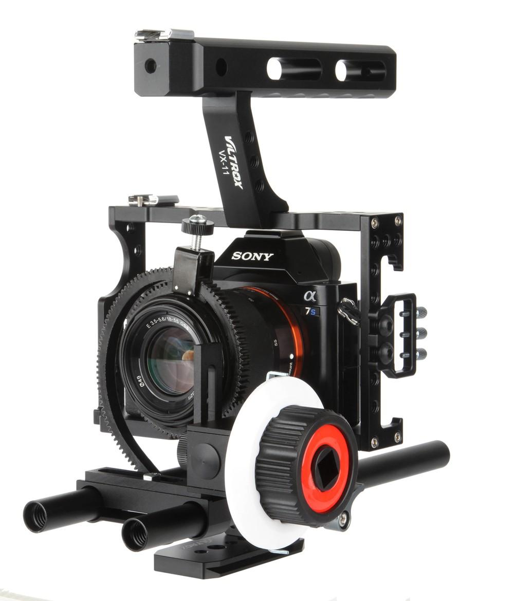 Freeshipping 15mm Rod Rig DSLR Video Cage Camera Stabilizer+Top Handle Grip+Follow Focus for Sony A7 II A7r A7s A6300 Panasonic GH4 /EOS M5