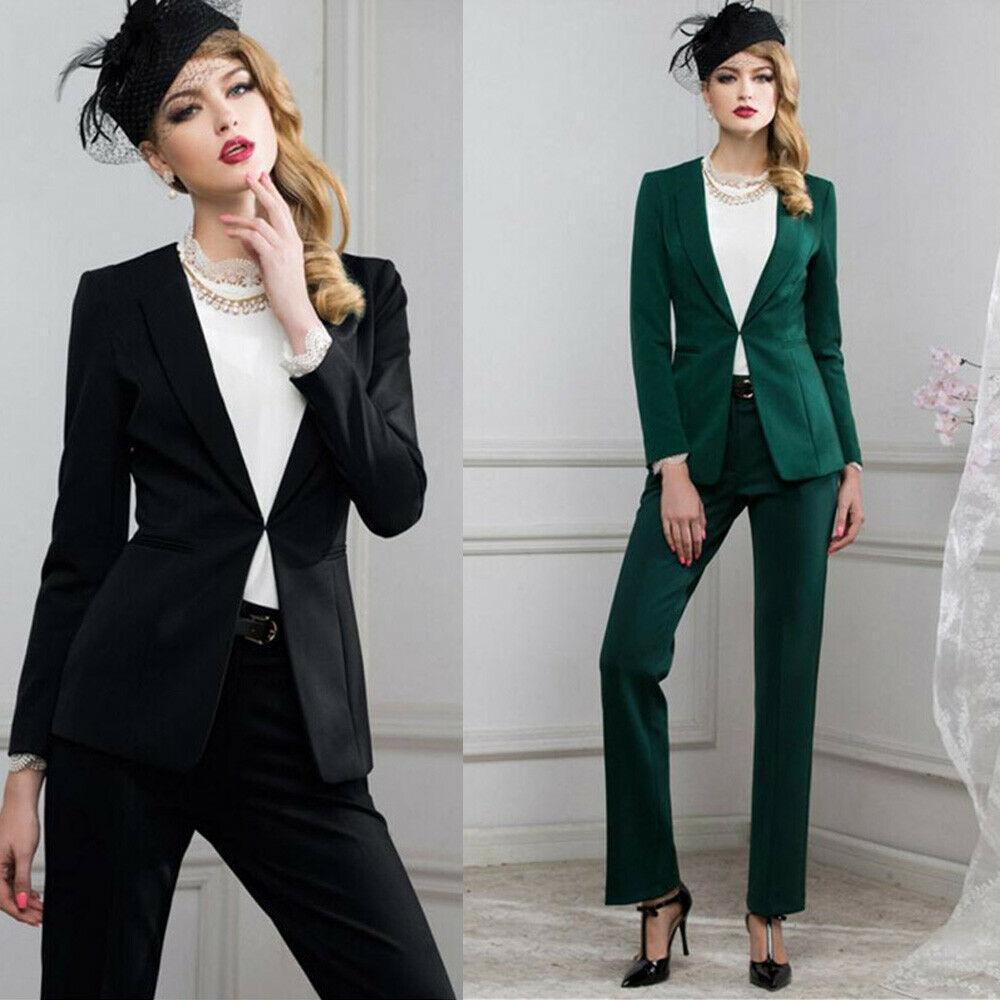 Usar vestido Ladies Escritório Evening Trabalho Suits Pant de Slim Fit Mulheres 2 Pieces das Mães smoking (Jacket + calça)