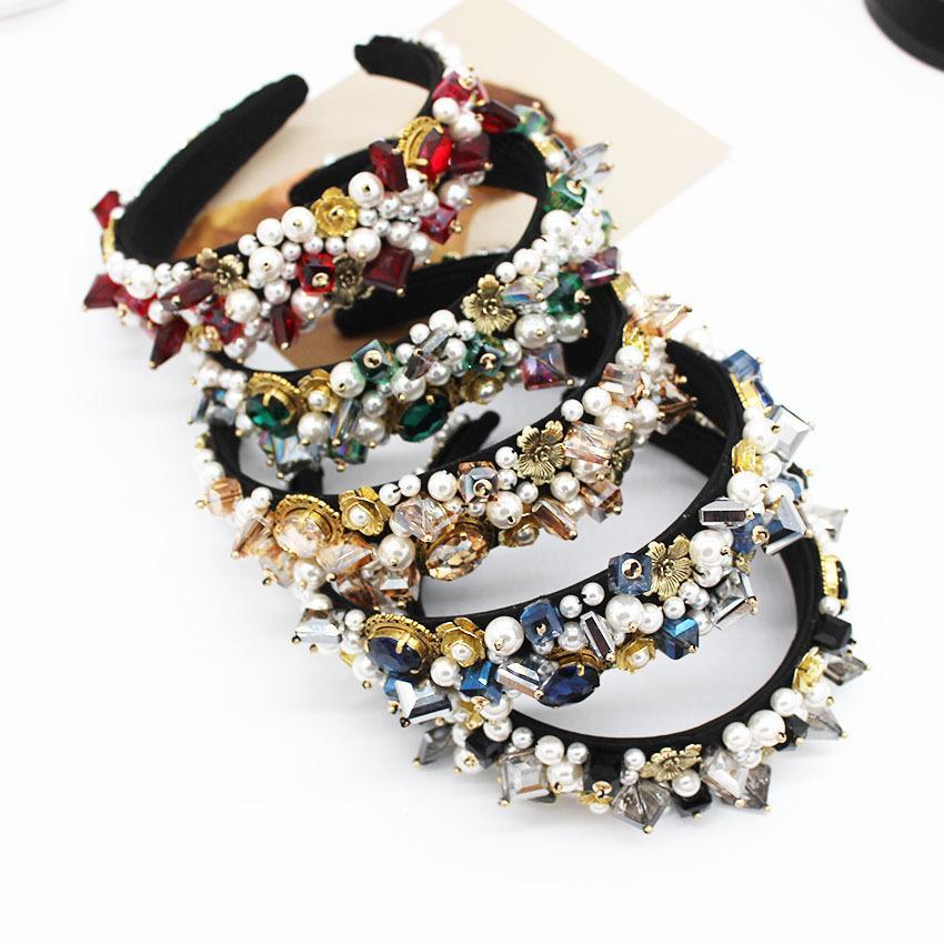 Signore di cristallo Hairband diamante strass gioielli barocco fascia Donne Gioielli sposa matrimonio elegante dei capelli accessori Headwear