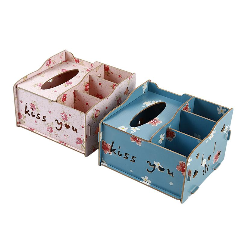 DIY Tissue Box Cover Wood Napkin Holder Tissue Dispenser Living Room Desktop Debris Organizer Phone Remote Control Storage Box