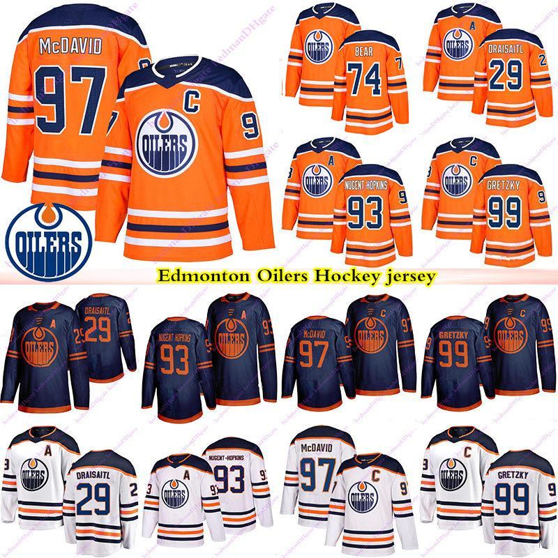 Edmonton Oilers Jerseys 97 Connor McDavid 99 Wayne Gretzky 74 Ethan Bear 29 Leon Draisaitl 93 Nugent Hopkins 18 James Neal Hockey Jersey
