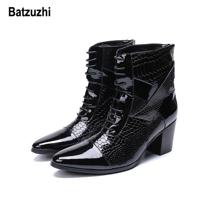 Batzuzhi 7cm High Heel Boots Uomo Lace-up Handsome Leather Dress Boots Nero Party and Wedding Stivali Uomo Designer botas hombre