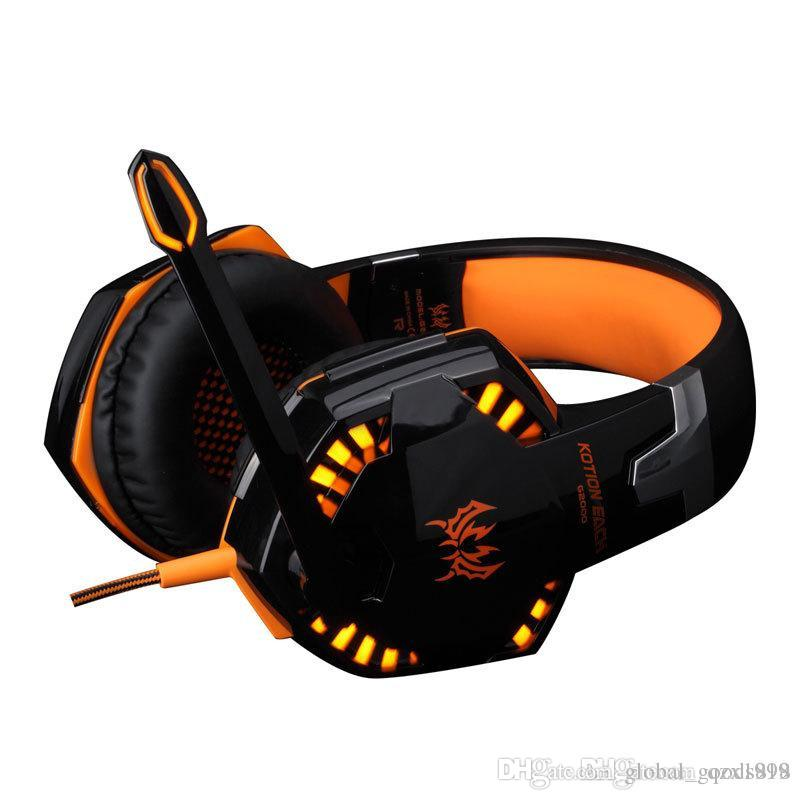 G2000 Game Headphone Stereo Over-Ear Gaming Headset Headband Earphone with MIC Light for Computer PC Gamer