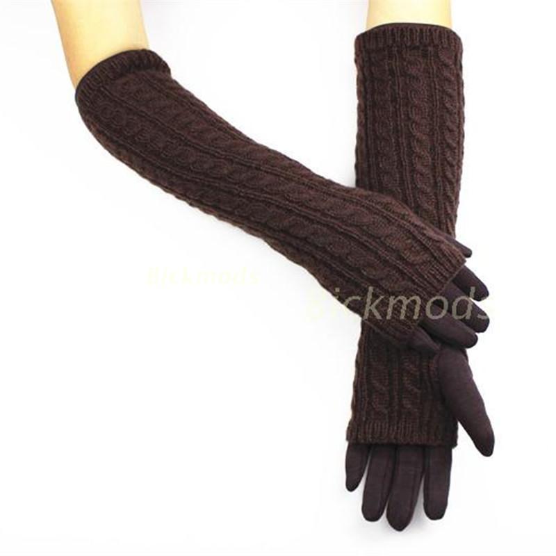 Weibliche Baumwolle invertierte Kaschmir lange gestrickte Handschuhe warme Handschuhe erhöhen Armbinde Sätze von Etagen kann Split über die Ellenbogen lang sein