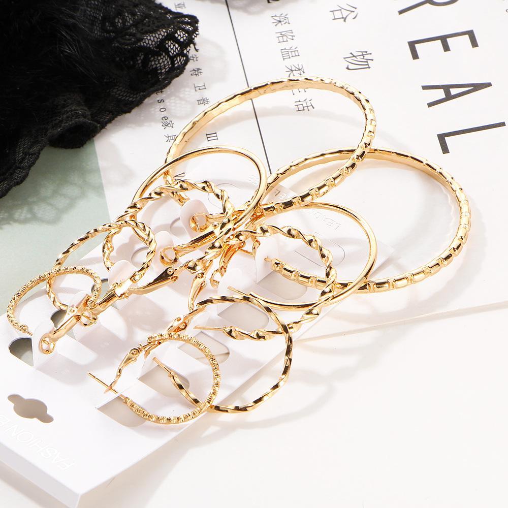 Designer de metal brincos moda retro brincos terno combinação de 5 conjuntos de jóias por atacado frete grátisJM001