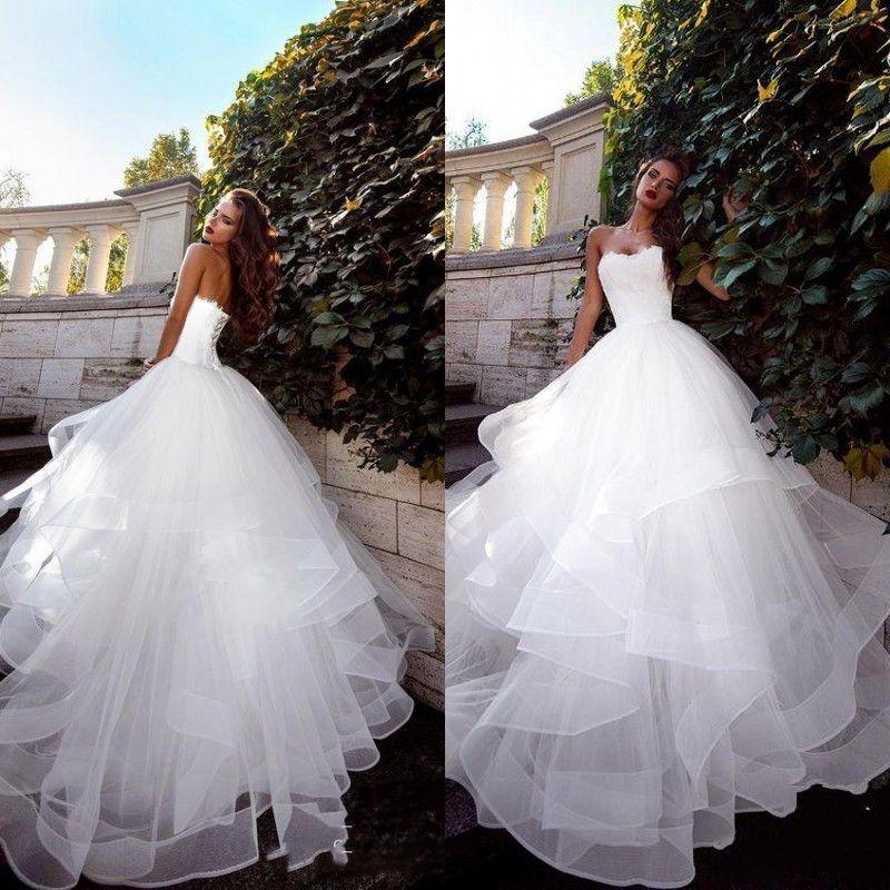 2020 Новый осенний без бретелек Vestido de Novia White Wedding платья RUCHED TULLE разведка поездов Корсет на шнуровке назад простые свадебные платья