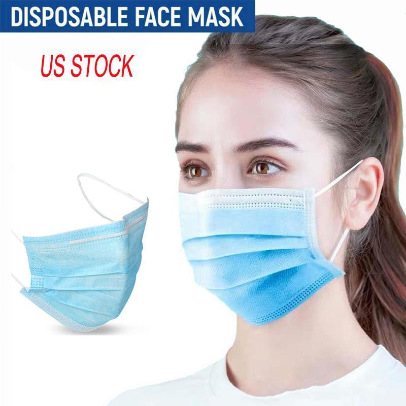 US stock 3 strati monouso Designer Maschere Viso Anti polvere inquinamento non tessuto Bocca Maschere Maschera PM2.5 Ear-anello di trasporto del DHL