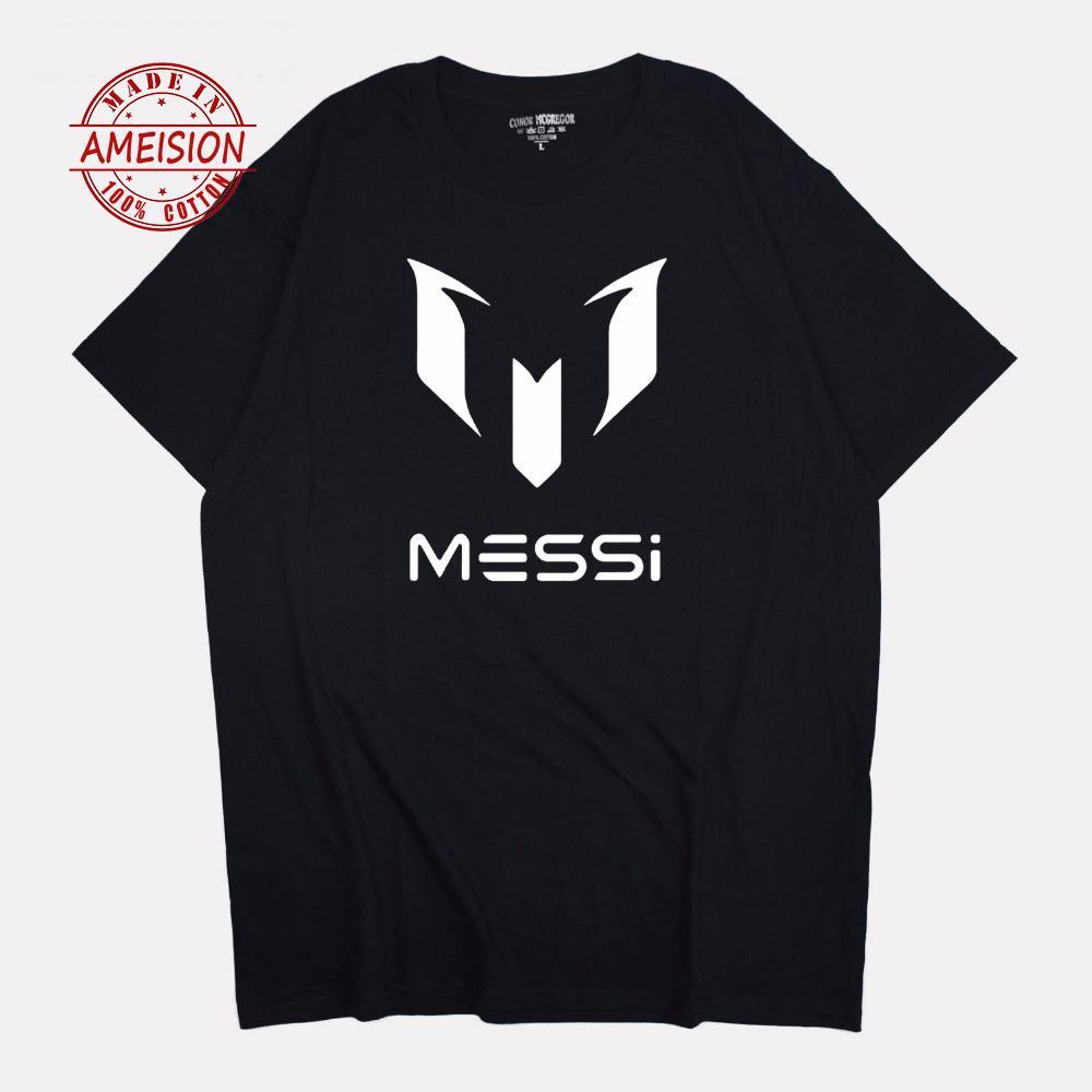 2019 yaz marka 100% pamuk MESSI Kulübü Erkekler t-shirt Üstleri Adam rahat kısa kollu t shirt Artı Boyutu Üstleri Tee