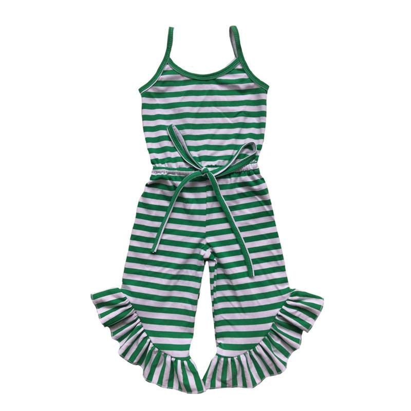 Newest Baby Girls Jumpsuit Summer Green Red Black Stripe Ruffle Pant Girls Romper Toddler One Piece Outfit 1-6t Y19050602