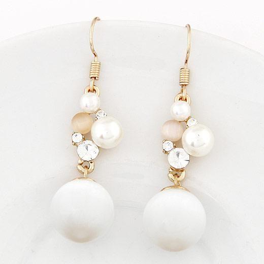 Big long cristal Boucles d'oreilles pour les femmes Vintage Simulé perle couleur or fin Accessoires de mariage Bijoux