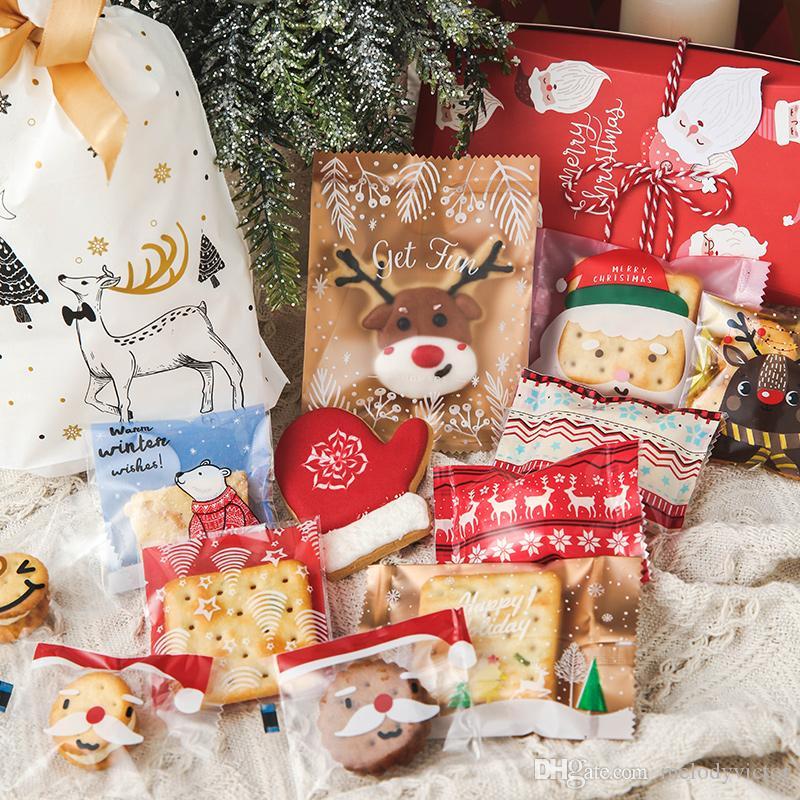 100pcs 10x10cm Adhersive Food Level Christmas Theme Santa Claus Elk Snowman Bakery Candy Cookie Packaging Bag Wholesale