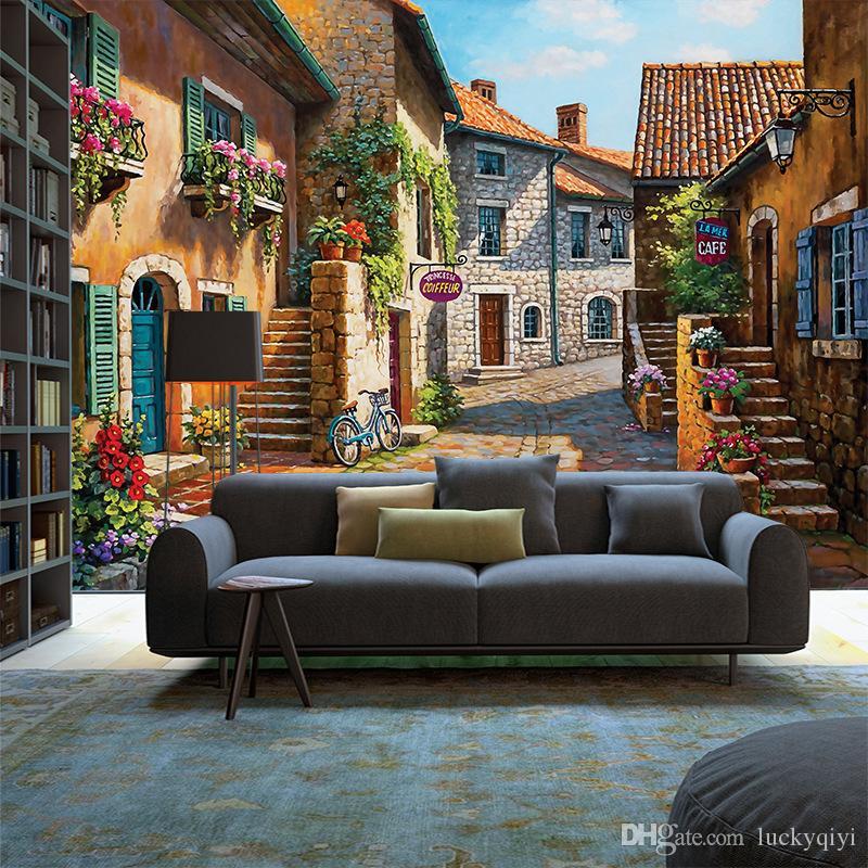Estilo europeo 3D espacio pintado a mano paisaje de la ciudad pintura al óleo papel tapiz sala de estar dormitorio TV fondo papel de pared no tejido Papel pintado
