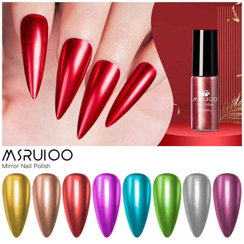 MSRUIOO Fashion Mirror Nail Polish Silver Gold Purple Rose Color 6ML Soak Off Nail Polish Girl Cute Decoration Tool