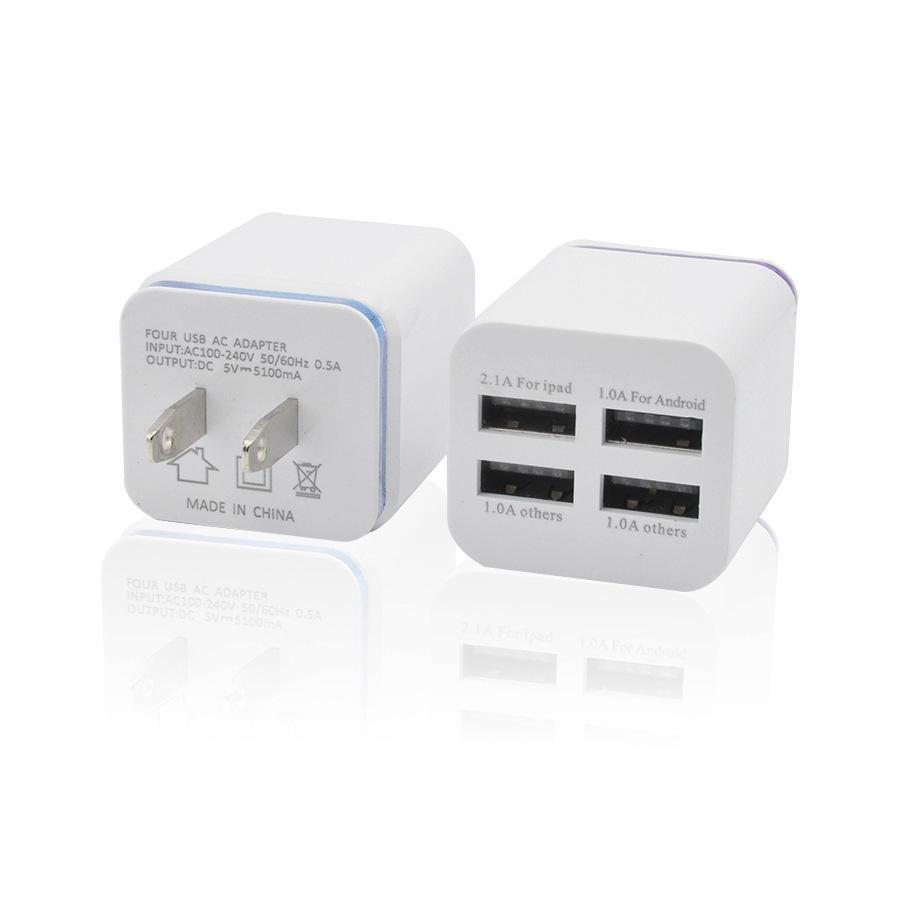 아이폰 6 7 8 플러스 금속 4 USB 벽 US 플러그 2.4A AC 전원 어댑터 벽 충전기 플러그 4 포트 삼성 갤럭시 노트 LG의 태블릿 아이 패드