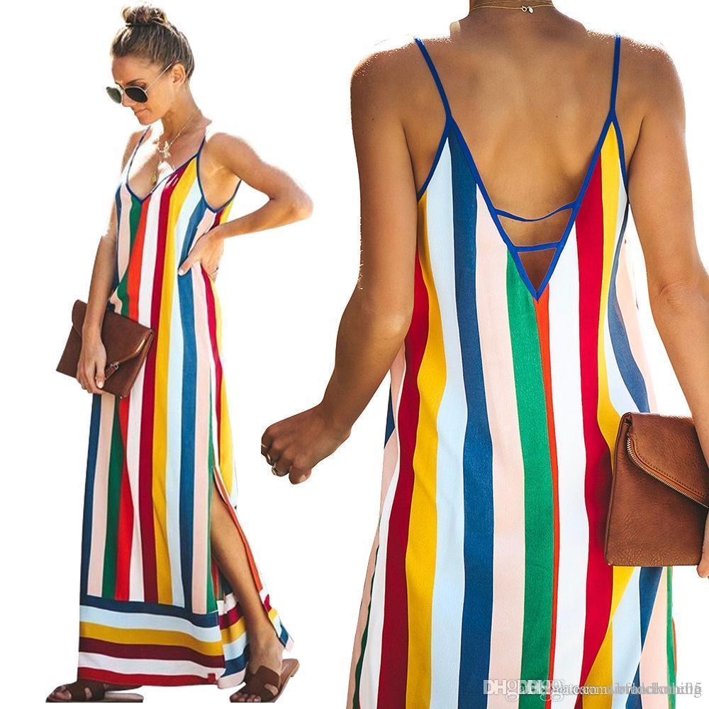 Gökkuşağı Çizgili Kadınlar Elbise V yaka Spagetti Askı Uzun Casual Uzun Bölünmüş Yukarı dizayn edilmiş elbiseler