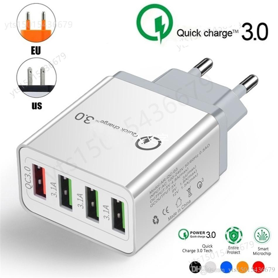 NEW-Wand-Gebühr QC 3.0 Schnell-Ladegerät 4 Port USB-Ladegerät Adapter OEM EU / US / UK-Stecker für Smartphone Android und iOS Samsung S10