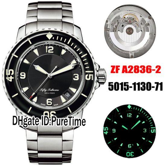 Nouvelle ZF Fifty Fathoms 5015-1130-71 ETA A2836-2 automatique Mens Watch SS cadran noir Bracelet en acier inoxydable meilleure édition 50 Fathoms Puretime
