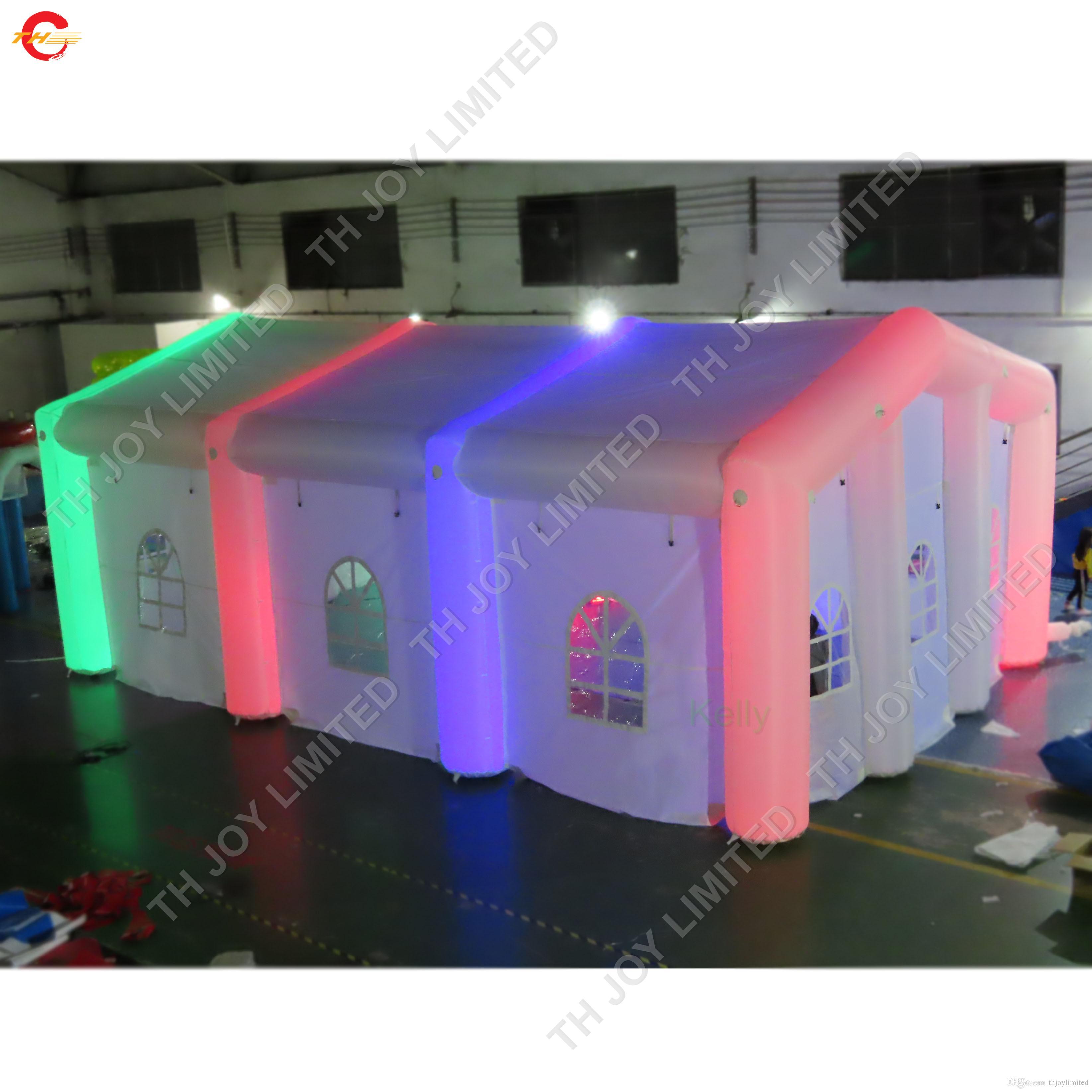 إضاءة LED العملاقة خيمة عرس نفخ لتأجير طرف في الهواء الطلق التجارية خيمة في الحديقة نفخ تأتي مع منفاخ الهواء ومصابيح