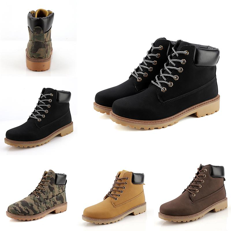 2020 New Leather Designer boots Lead the trend Men boots Camouflage black brown boots winter autumn Homemade brand Made in China 39-44