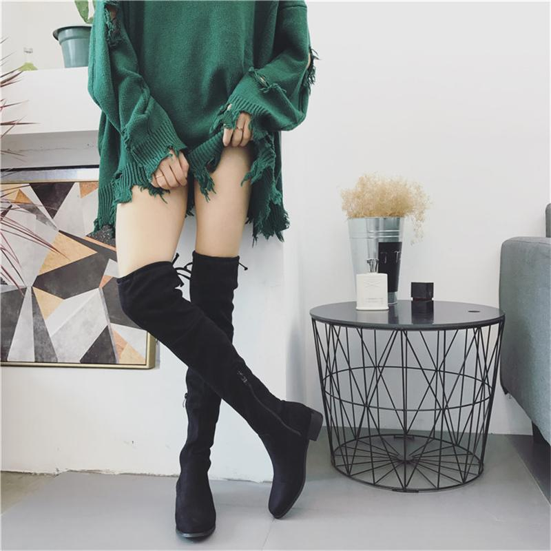 2019 Women Over The Knee High Boots Female Stretch Flats Suede Classic Boots Ladies Dress Fashion Fetish Velvet Fringe Shoes
