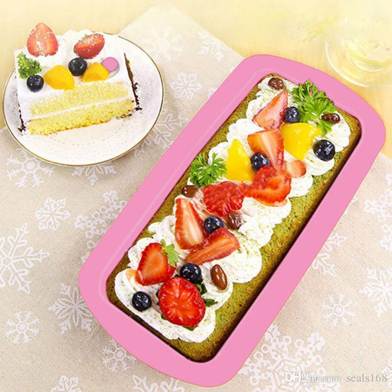 Baking Dishes Silicone Cake Mould Pan Oven Rectangle Mould Silicone Bread Loaf Cake Mold Forms Non Stick HH7-1962