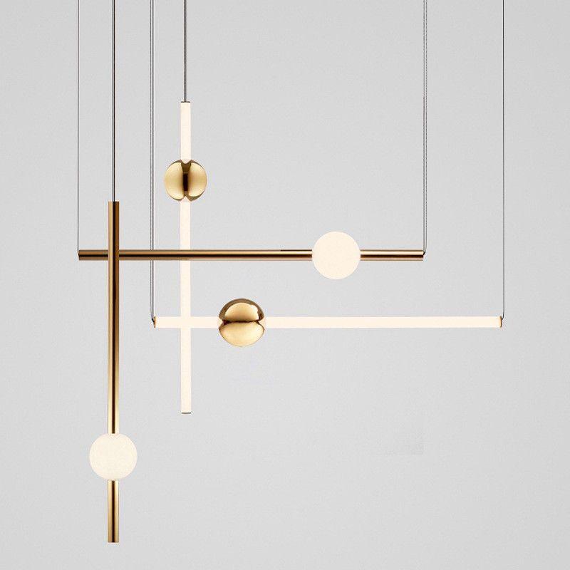 Postmodern Loft Golden Led Chandelier Creative Long Stick Noble Living Room Hotel Hall Hanging Light Fixtures Free Shipping