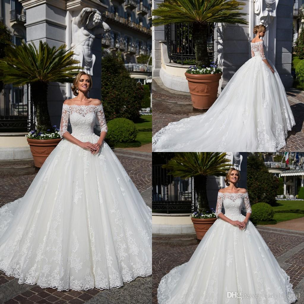 New Vintage Lace Appliqued A-line Wedding Dress Elegant Off Shoulder 3/4 Sleeve Princess Ball Gown Tulle Beach Boho Bridal Gown Custom Made