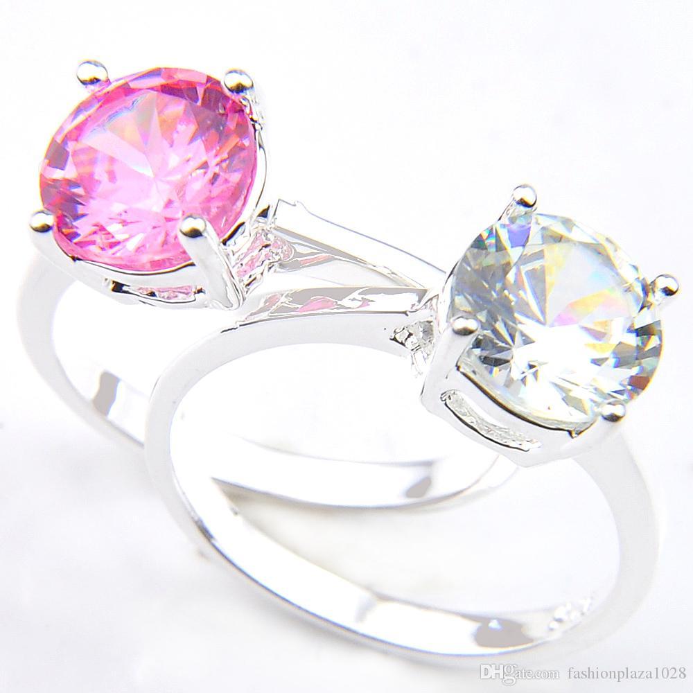 10 pezzi classico rotondo bianco topazio gemma 925 sterling argento placcato donne anelli di nozze anelli gioielli russia americano australia regalo vacanze