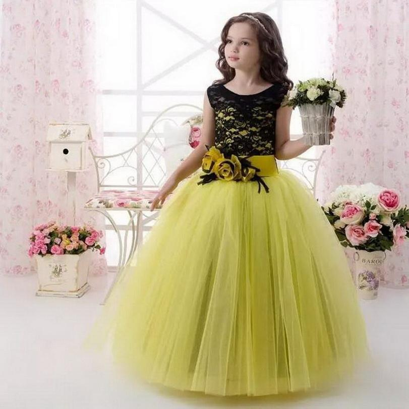 New Long Flower Girl Dress With Sash Handmade Flowers Tulle Lace Ball Gown For Elegant Princess Custom Made Formal Party Gowns