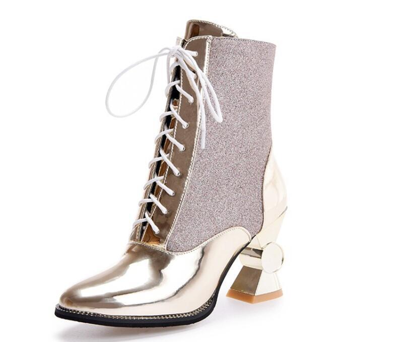 Tasarımcı-d kış bayan ayakkabı benzersiz yüksek topuklu sivri burun ayak bileği botlar bağlamamda altın ve kıymık patikler NMM8