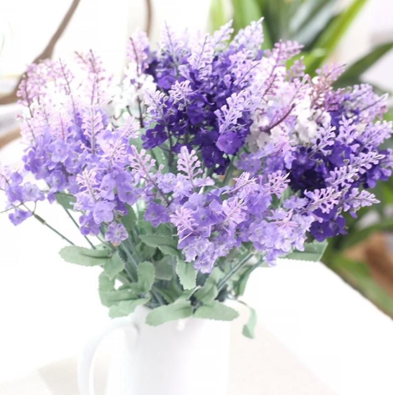 Fiori di seta 10 teste artificiali fiori di lavanda Vivid Foglia Fake Flowers Bouquet da sposa partito per la casa 3 colori facoltativi YW4083